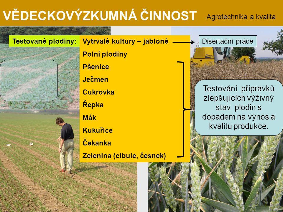 Testované plodiny:Vytrvalé kultury – jabloně Polní plodiny Pšenice Ječmen Cukrovka Řepka Mák Kukuřice Čekanka Zelenina (cibule, česnek) Disertační prá