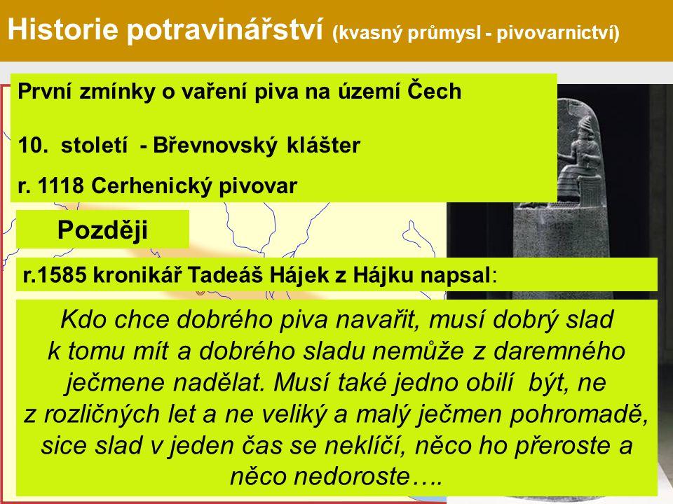 Chammurabiho zákoník 1686 př.n.l. Historie potravinářství (kvasný průmysl - pivovarnictví) První zmínky o vaření piva na území Čech 10. století - Břev