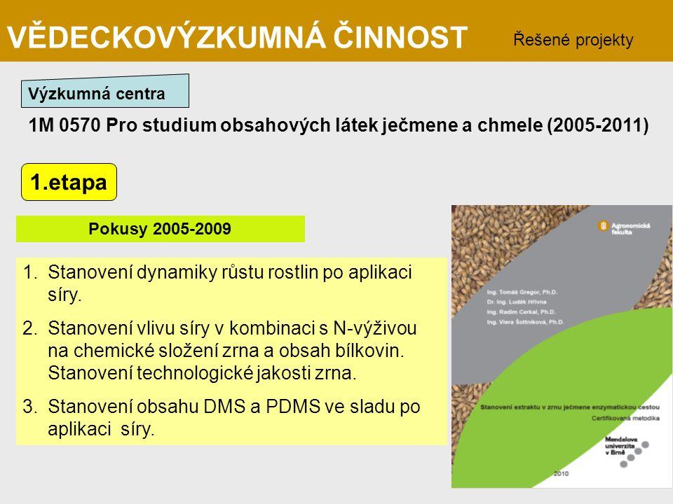 1M 0570 Pro studium obsahových látek ječmene a chmele (2005-2011) Řešené projekty VĚDECKOVÝZKUMNÁ ČINNOST Výzkumná centra 1.Stanovení dynamiky růstu r