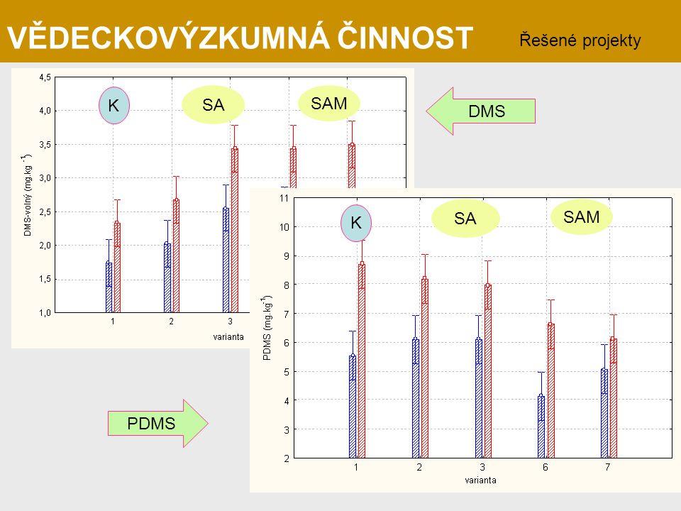 SA SAM K K SA SAM DMS PDMS VĚDECKOVÝZKUMNÁ ČINNOST Řešené projekty