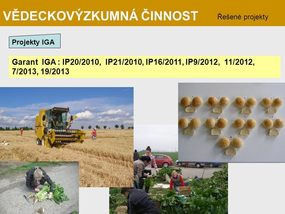Garant IGA : IP20/2010, IP21/2010, IP16/2011, IP9/2012, 11/2012, 7/2013, 19/2013 VĚDECKOVÝZKUMNÁ ČINNOST Řešené projekty Projekty IGA