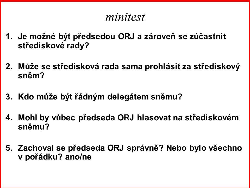 minitest 1.Je možné být předsedou ORJ a zároveň se zúčastnit střediskové rady.