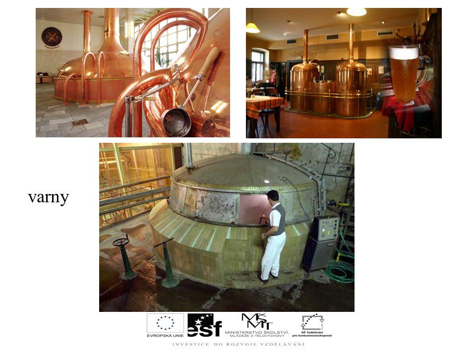 VARNA = hlavní místnost pivovaru – umístěna varná souprava Výroba sladiny: rozemletý slad se mísí s vodou ve vystíracích kádích, část vystírky se přev