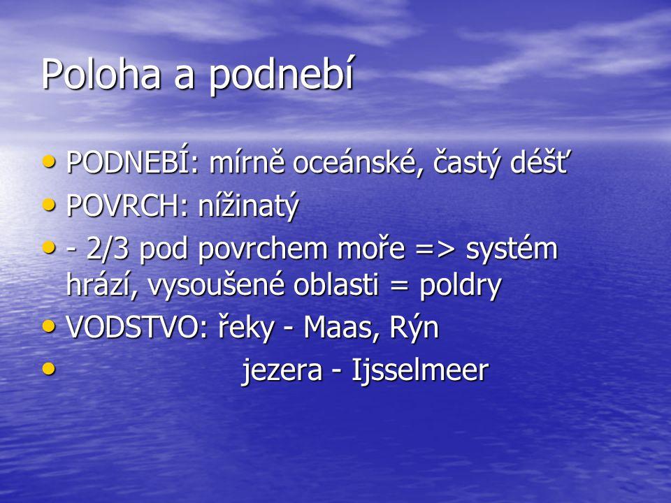 Poloha a podnebí PODNEBÍ: mírně oceánské, častý déšť PODNEBÍ: mírně oceánské, častý déšť POVRCH: nížinatý POVRCH: nížinatý - 2/3 pod povrchem moře =>