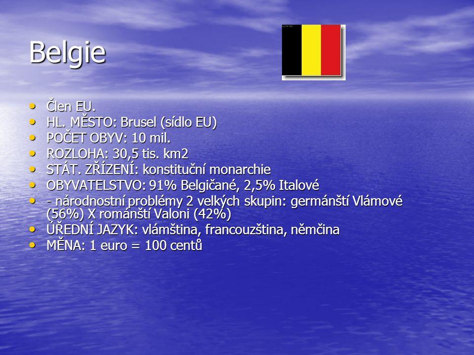 Belgie Člen EU. Člen EU. HL. MĚSTO: Brusel (sídlo EU) HL. MĚSTO: Brusel (sídlo EU) POČET OBYV: 10 mil. POČET OBYV: 10 mil. ROZLOHA: 30,5 tis. km2 ROZL