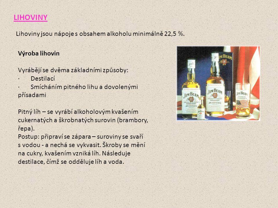 LIHOVINY Lihoviny jsou nápoje s obsahem alkoholu minimálně 22,5 %. Výroba lihovin Vyrábějí se dvěma základními způsoby: · Destilací · Smícháním pitnéh