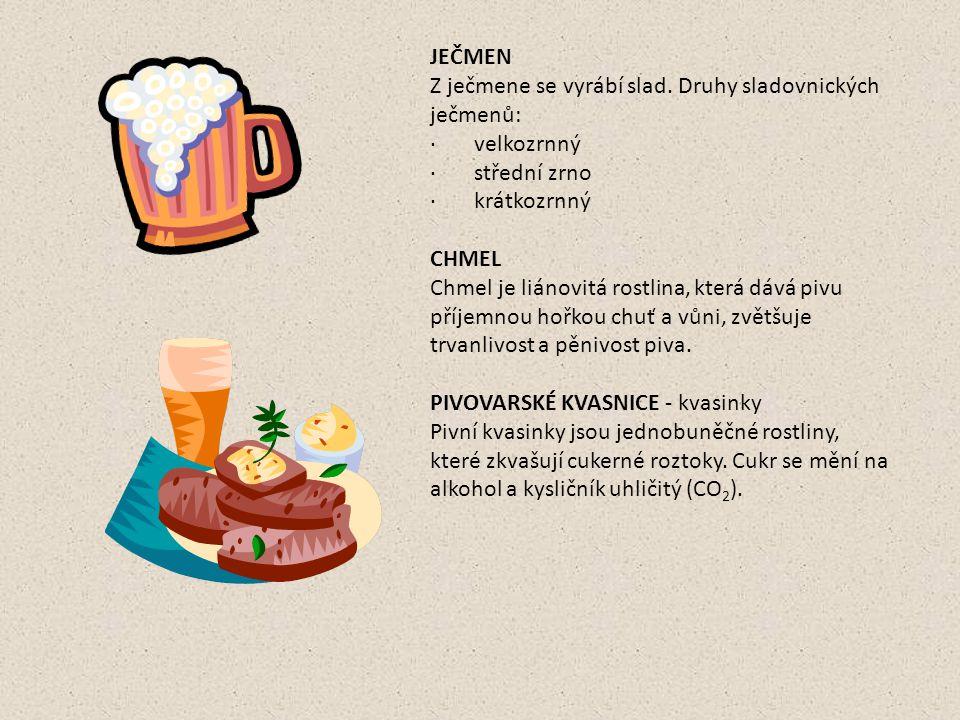 Výroba piva K výrobě piva je třeba slad a ten se vyrábí z ječmene.