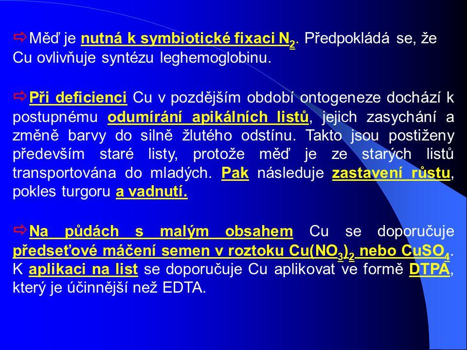  Měď je nutná k symbiotické fixaci N 2. Předpokládá se, že Cu ovlivňuje syntézu leghemoglobinu.  Při deficienci Cu v pozdějším období ontogeneze doc