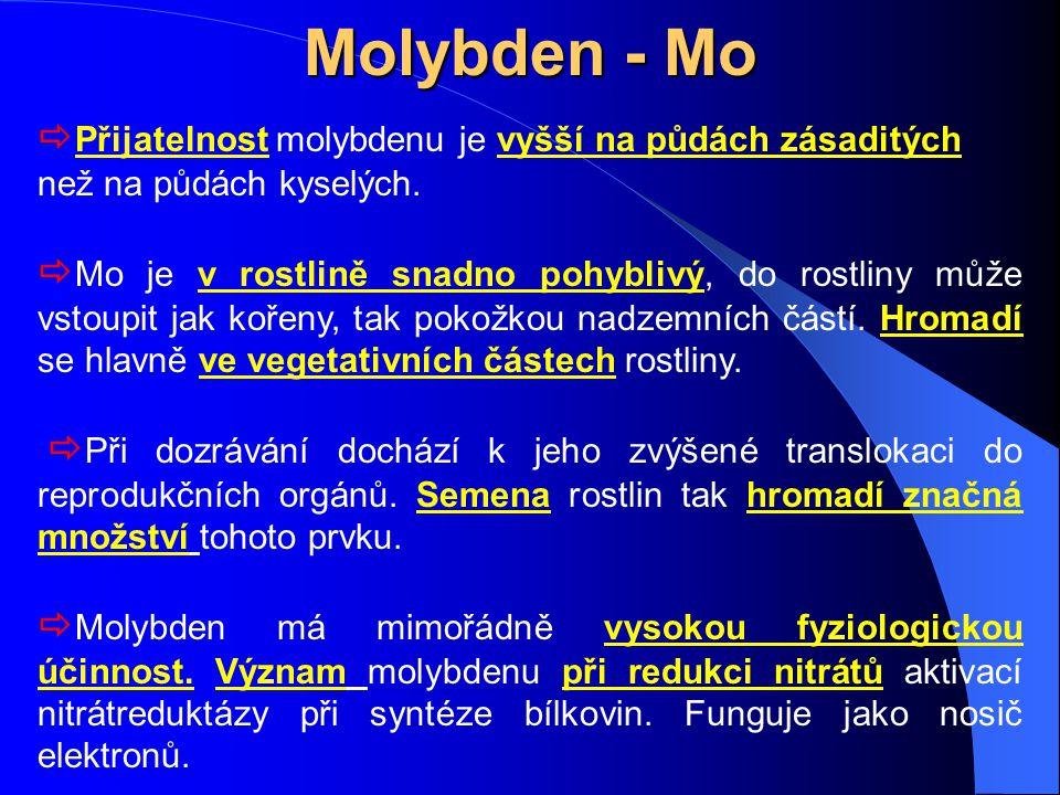 Molybden - Mo  Přijatelnost molybdenu je vyšší na půdách zásaditých než na půdách kyselých.  Mo je v rostlině snadno pohyblivý, do rostliny může vst
