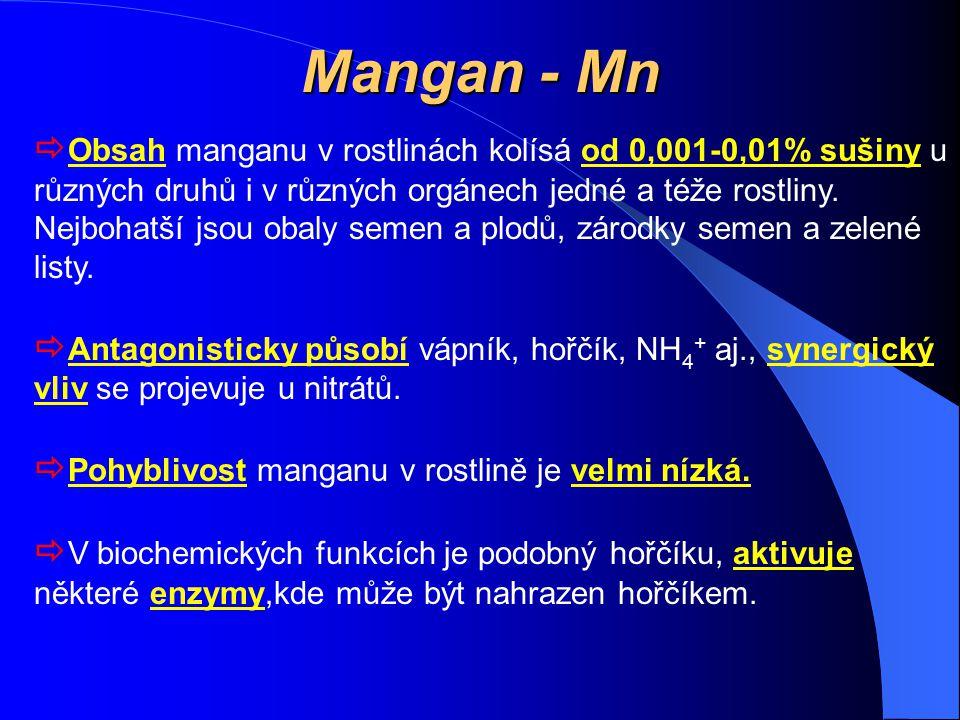 Mangan - Mn  Obsah manganu v rostlinách kolísá od 0,001-0,01% sušiny u různých druhů i v různých orgánech jedné a téže rostliny. Nejbohatší jsou obal