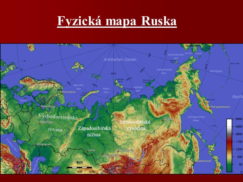 Přírodní poměry povrch: Východoevropská rovina povrch: Východoevropská rovina Západosibiřská nížina Západosibiřská nížina Středosibiřská nížina, Sibiř Středosibiřská nížina, Sibiř podnebí: převažuje mírné kontinentální podnebí: převažuje mírné kontinentální vodstvo: Pečora, Sev.Dvina, Don,Volha vodstvo: Pečora, Sev.Dvina, Don,Volha + sibiřské veletoky + sibiřské veletoky jezera - Ladožské, Oněžské, Bajkal, Kaspické moře jezera - Ladožské, Oněžské, Bajkal, Kaspické moře vegetace: tundra, tajga, lesy m.pásu, stepi vegetace: tundra, tajga, lesy m.pásu, stepi