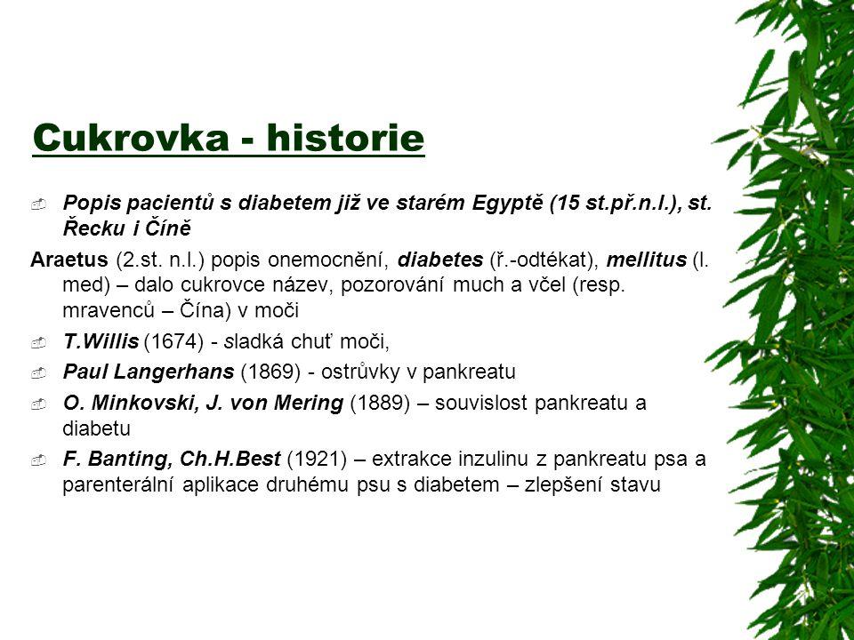 Cukrovka - historie  Popis pacientů s diabetem již ve starém Egyptě (15 st.př.n.l.), st. Řecku i Číně Araetus (2.st. n.l.) popis onemocnění, diabetes
