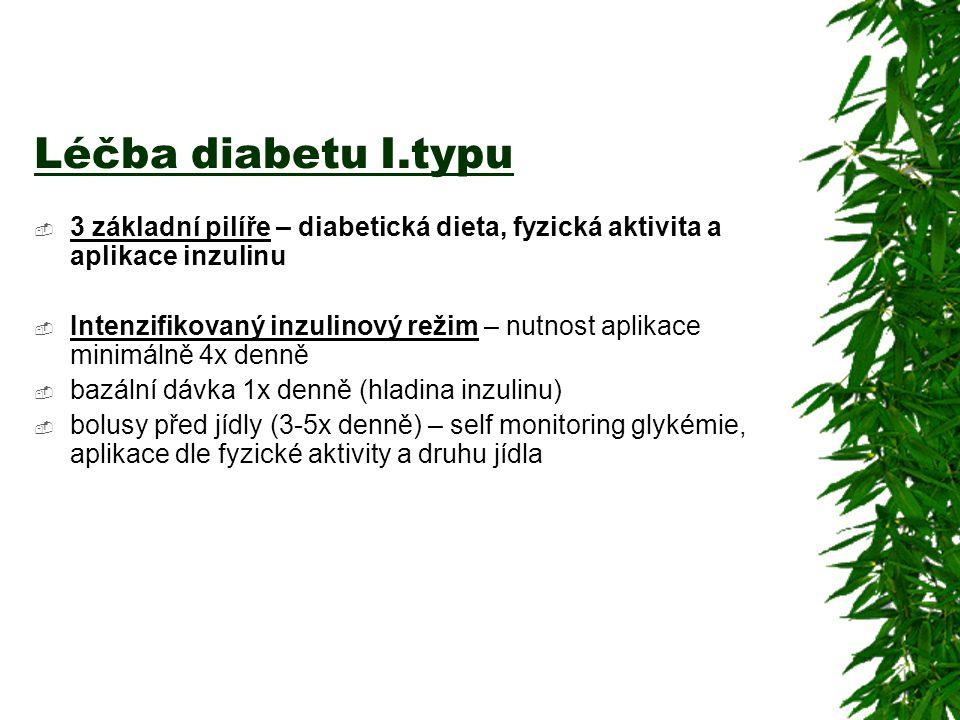 Léčba diabetu I.typu  3 základní pilíře – diabetická dieta, fyzická aktivita a aplikace inzulinu  Intenzifikovaný inzulinový režim – nutnost aplikac