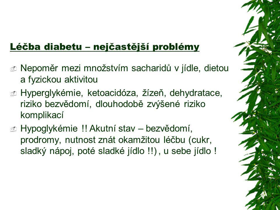 Léčba diabetu – nejčastější problémy  Nepoměr mezi množstvím sacharidů v jídle, dietou a fyzickou aktivitou  Hyperglykémie, ketoacidóza, žízeň, dehy