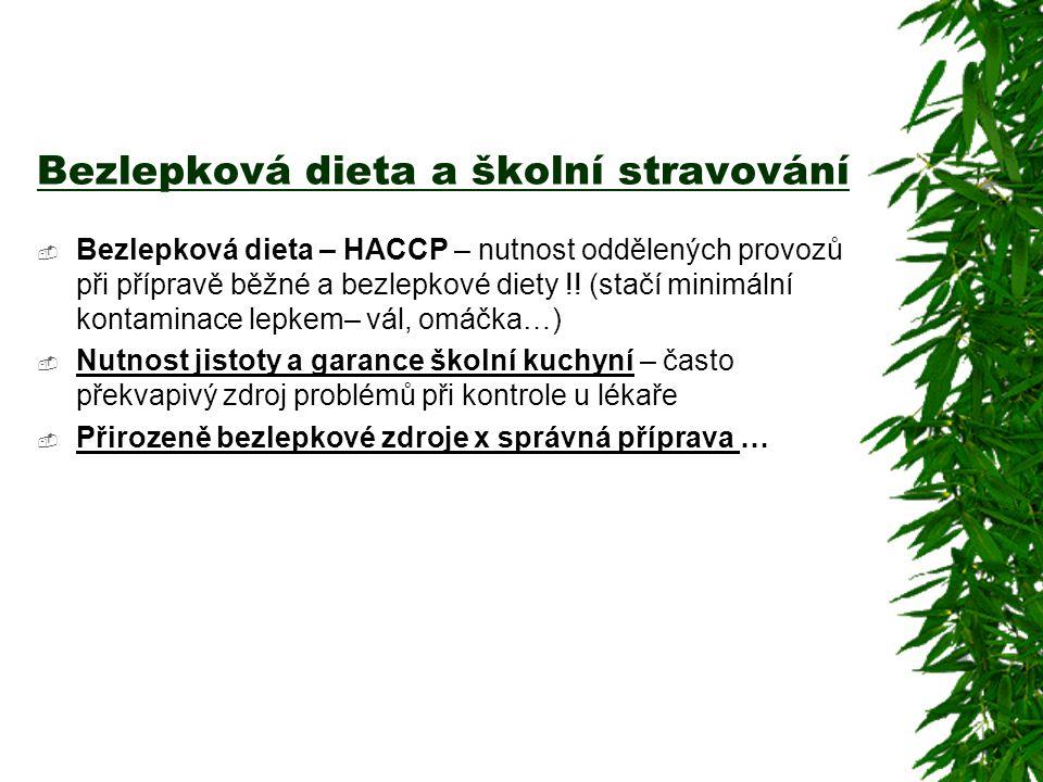 Bezlepková dieta a školní stravování  Bezlepková dieta – HACCP – nutnost oddělených provozů při přípravě běžné a bezlepkové diety !! (stačí minimální