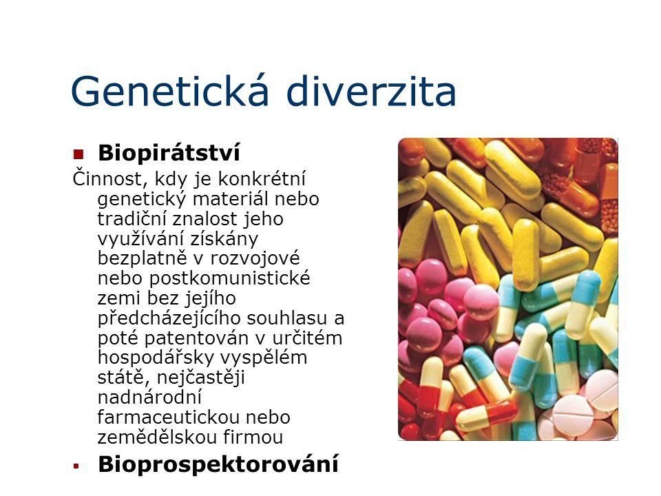 Genetická diverzita Biopirátství Činnost, kdy je konkrétní genetický materiál nebo tradiční znalost jeho využívání získány bezplatně v rozvojové nebo postkomunistické zemi bez jejího předcházejícího souhlasu a poté patentován v určitém hospodářsky vyspělém státě, nejčastěji nadnárodní farmaceutickou nebo zemědělskou firmou  Bioprospektorování