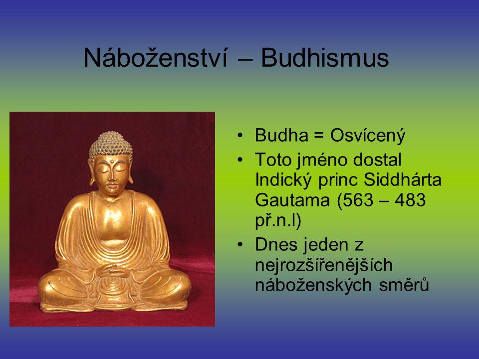 Náboženství – Budhismus Budha = Osvícený Toto jméno dostal Indický princ Siddhárta Gautama (563 – 483 př.n.l) Dnes jeden z nejrozšířenějších náboženských směrů