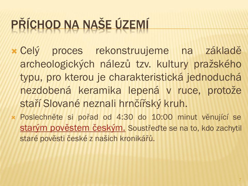  Celý proces rekonstruujeme na základě archeologických nálezů tzv. kultury pražského typu, pro kterou je charakteristická jednoduchá nezdobená kerami