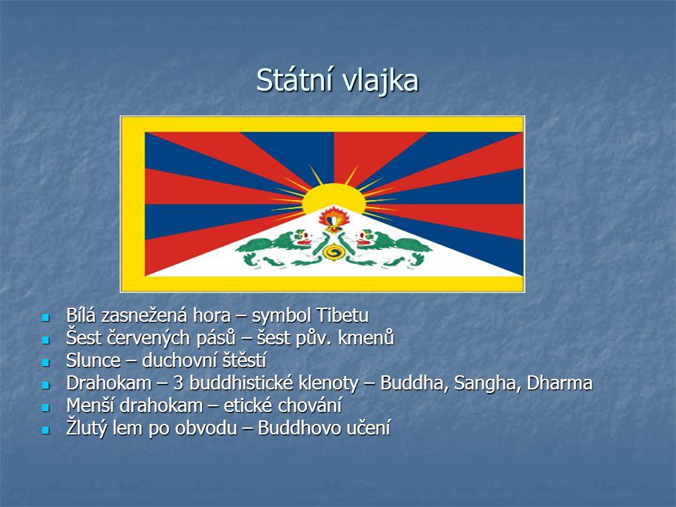 Státní vlajka Bílá zasnežená hora – symbol Tibetu Bílá zasnežená hora – symbol Tibetu Šest červených pásů – šest pův. kmenů Šest červených pásů – šest