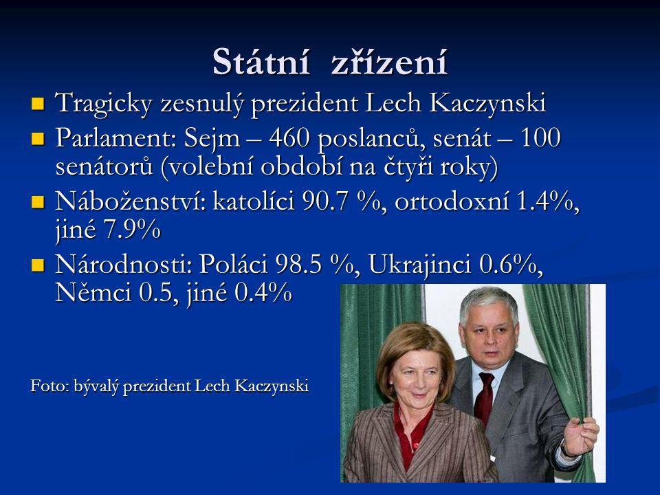 Státní zřízení Tragicky zesnulý prezident Lech Kaczynski Tragicky zesnulý prezident Lech Kaczynski Parlament: Sejm – 460 poslanců, senát – 100 senátorů (volební období na čtyři roky) Parlament: Sejm – 460 poslanců, senát – 100 senátorů (volební období na čtyři roky) Náboženství: katolíci 90.7 %, ortodoxní 1.4%, jiné 7.9% Náboženství: katolíci 90.7 %, ortodoxní 1.4%, jiné 7.9% Národnosti: Poláci 98.5 %, Ukrajinci 0.6%, Němci 0.5, jiné 0.4% Národnosti: Poláci 98.5 %, Ukrajinci 0.6%, Němci 0.5, jiné 0.4% Foto: bývalý prezident Lech Kaczynski