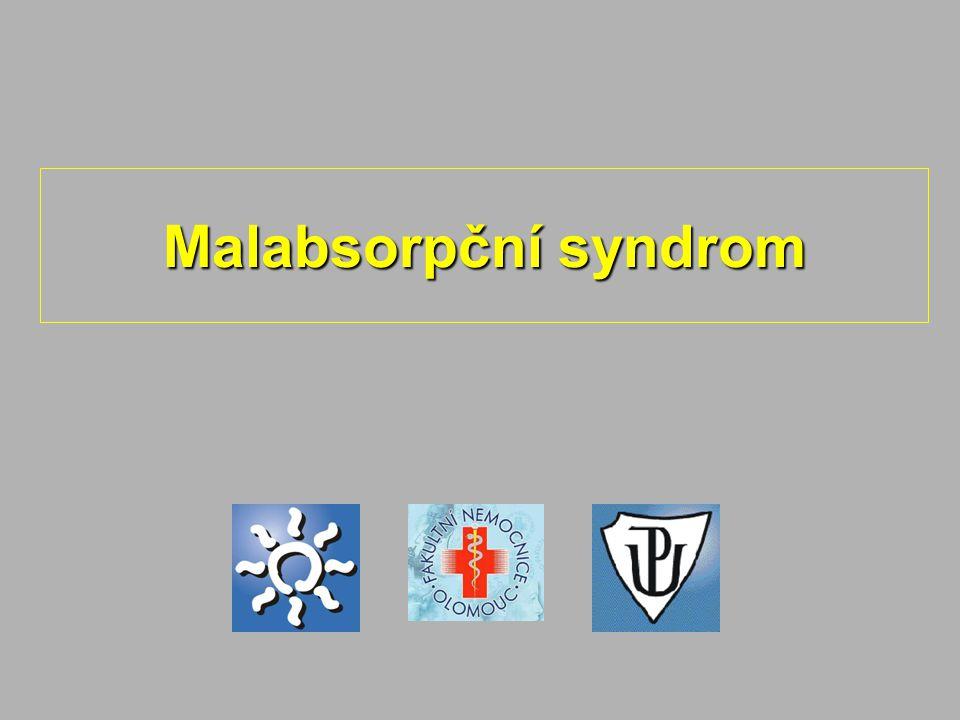 skupina příznaků, které vznikají v důsledku poruchy trávení (maldigesce) nebo vstřebávání (malabsorpce) živinskupina příznaků, které vznikají v důsledku poruchy trávení (maldigesce) nebo vstřebávání (malabsorpce) živin vrozený x získanývrozený x získaný deficit trávících enzymůdeficit trávících enzymů porucha resorpční plochyporucha resorpční plochy