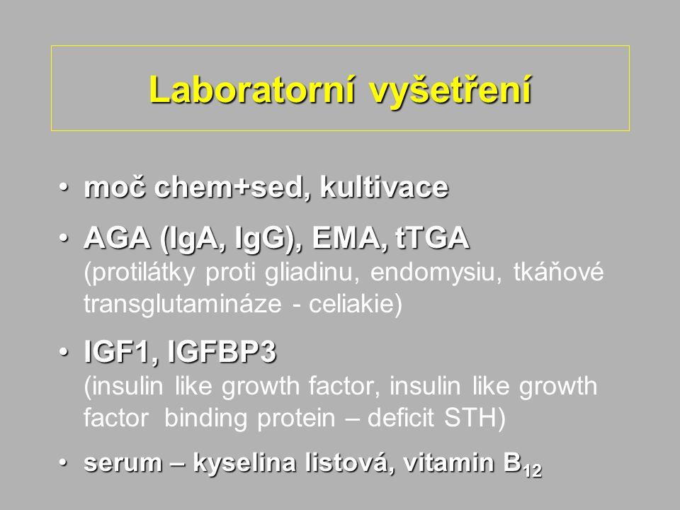 Laboratorní vyšetření moč chem+sed, kultivacemoč chem+sed, kultivace AGA (IgA, IgG), EMA, tTGAAGA (IgA, IgG), EMA, tTGA (protilátky proti gliadinu, endomysiu, tkáňové transglutamináze - celiakie) IGF1, IGFBP3IGF1, IGFBP3 (insulin like growth factor, insulin like growth factor binding protein – deficit STH) serum – kyselina listová, vitamin B 12serum – kyselina listová, vitamin B 12