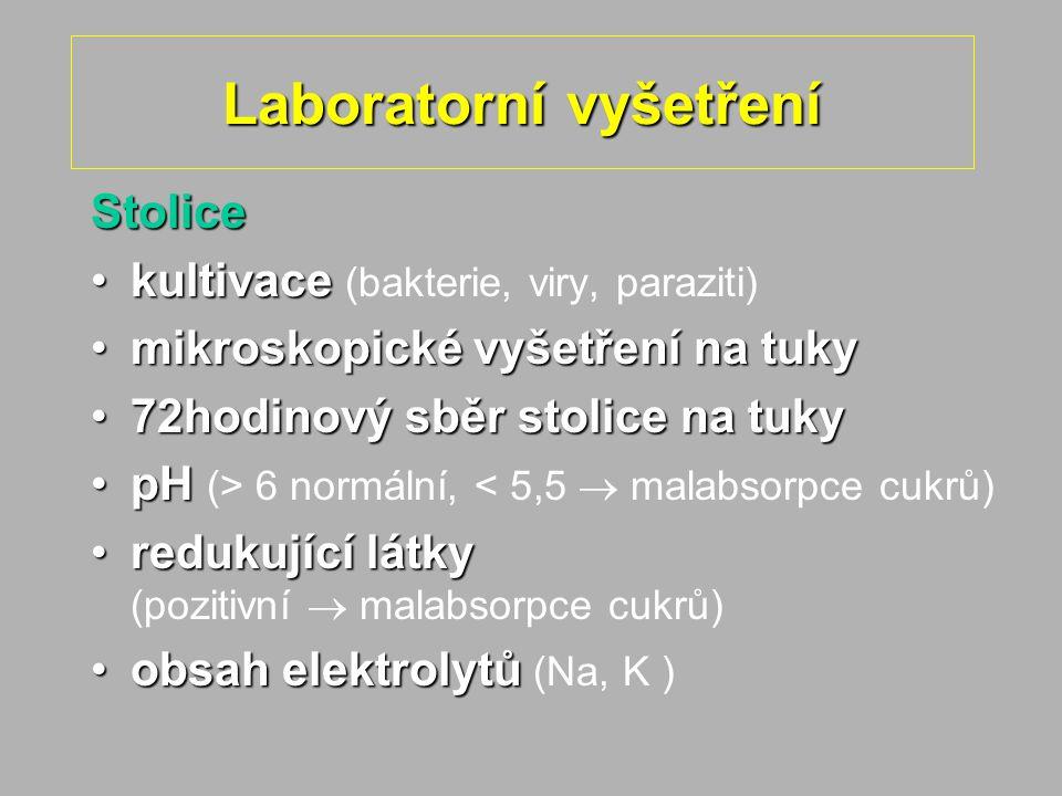 Laboratorní vyšetření Stolice kultivacekultivace (bakterie, viry, paraziti) mikroskopické vyšetření na tukymikroskopické vyšetření na tuky 72hodinový sběr stolice na tuky72hodinový sběr stolice na tuky pHpH (> 6 normální, < 5,5  malabsorpce cukrů) redukující látkyredukující látky (pozitivní  malabsorpce cukrů) obsah elektrolytůobsah elektrolytů (Na, K )