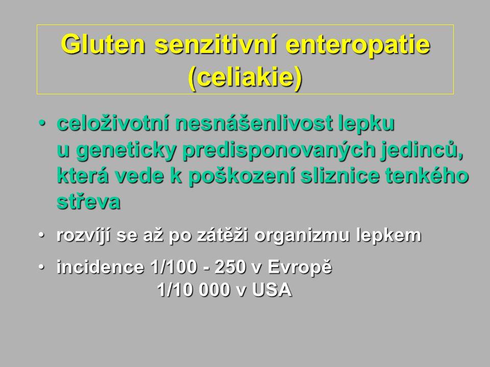 Gluten senzitivní enteropatie (celiakie) celoživotní nesnášenlivost lepku u geneticky predisponovaných jedinců, která vede k poškození sliznice tenkého střevaceloživotní nesnášenlivost lepku u geneticky predisponovaných jedinců, která vede k poškození sliznice tenkého střeva rozvíjí se až po zátěži organizmu lepkemrozvíjí se až po zátěži organizmu lepkem incidence 1/100 - 250 v Evropě 1/10 000 v USAincidence 1/100 - 250 v Evropě 1/10 000 v USA