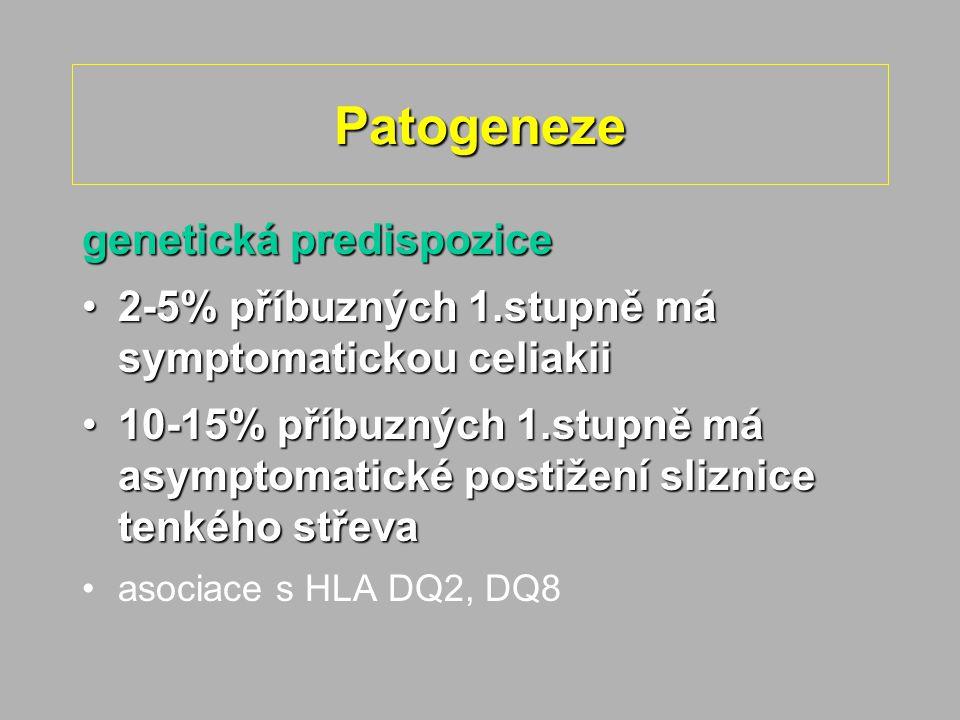Patogeneze genetická predispozice 2-5% příbuzných 1.stupně má symptomatickou celiakii2-5% příbuzných 1.stupně má symptomatickou celiakii 10-15% příbuzných 1.stupně má asymptomatické postižení sliznice tenkého střeva10-15% příbuzných 1.stupně má asymptomatické postižení sliznice tenkého střeva asociace s HLA DQ2, DQ8