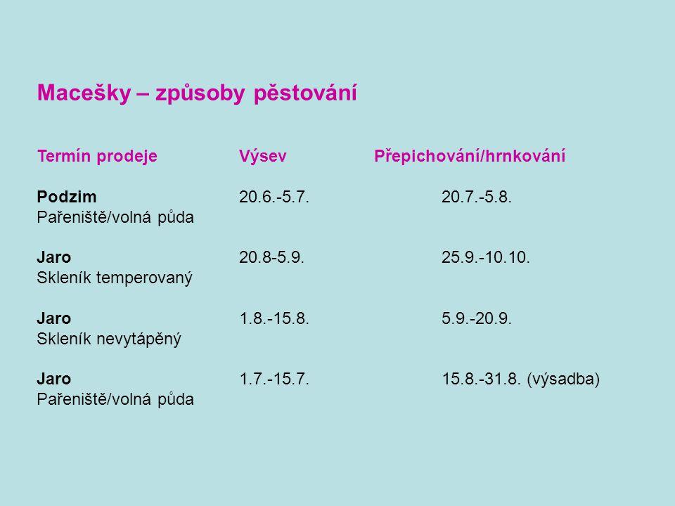 Macešky – způsoby pěstování Termín prodejeVýsevPřepichování/hrnkování Podzim20.6.-5.7.20.7.-5.8.