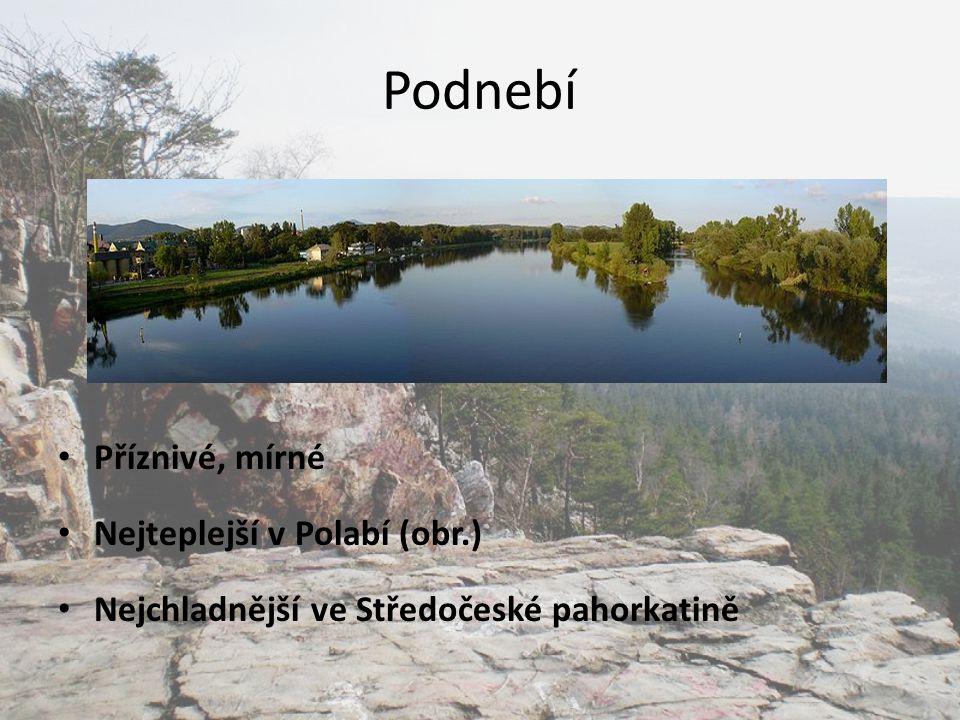 Podnebí Příznivé, mírné Nejteplejší v Polabí (obr.) Nejchladnější ve Středočeské pahorkatině