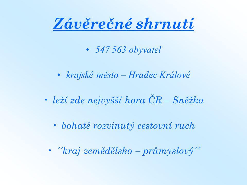 Závěrečné shrnutí 547 563 obyvatel krajské město – Hradec Králové leží zde nejvyšší hora ČR – Sněžka bohatě rozvinutý cestovní ruch ´´kraj zemědělsko