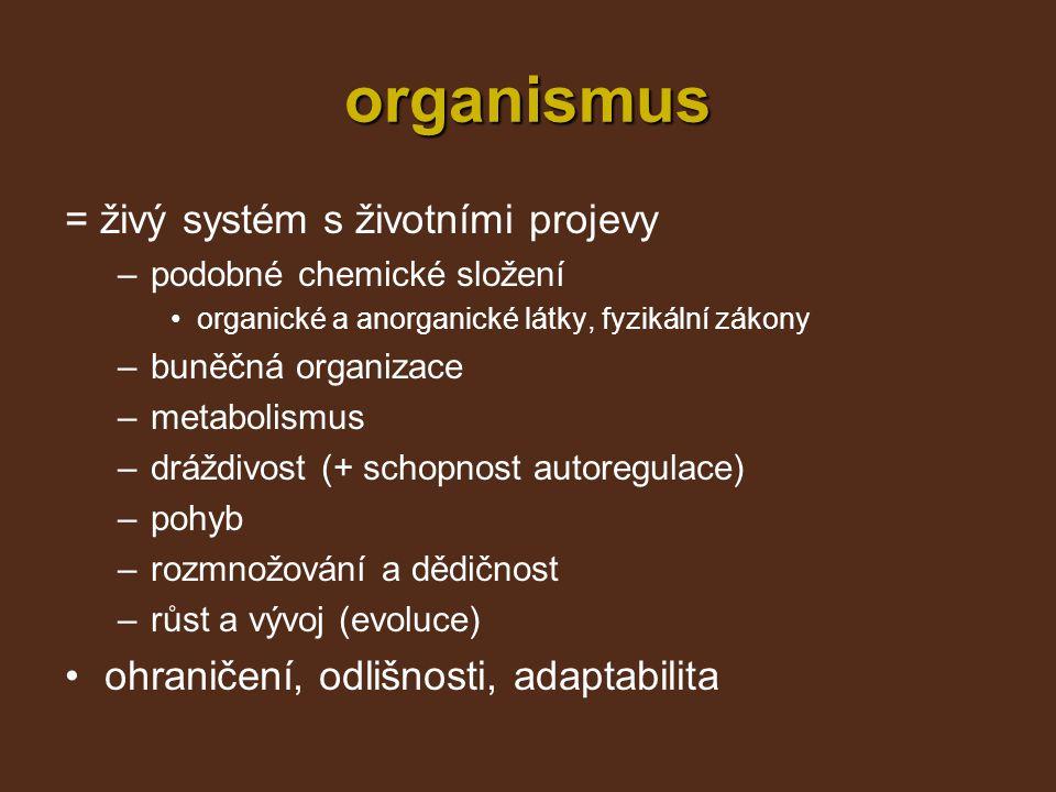 organismus = živý systém s životními projevy –podobné chemické složení organické a anorganické látky, fyzikální zákony –buněčná organizace –metabolism