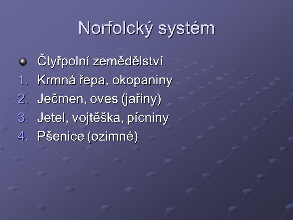 Norfolcký systém Čtyřpolní zemědělství 1.Krmná řepa, okopaniny 2.Ječmen, oves (jařiny) 3.Jetel, vojtěška, pícniny 4.Pšenice (ozimné)