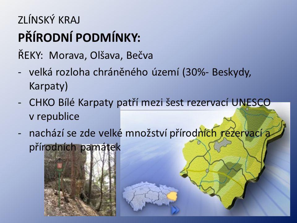 PŘÍRODNÍ PODMÍNKY: ŘEKY: Morava, Olšava, Bečva -velká rozloha chráněného území (30%- Beskydy, Karpaty) -CHKO Bílé Karpaty patří mezi šest rezervací UN