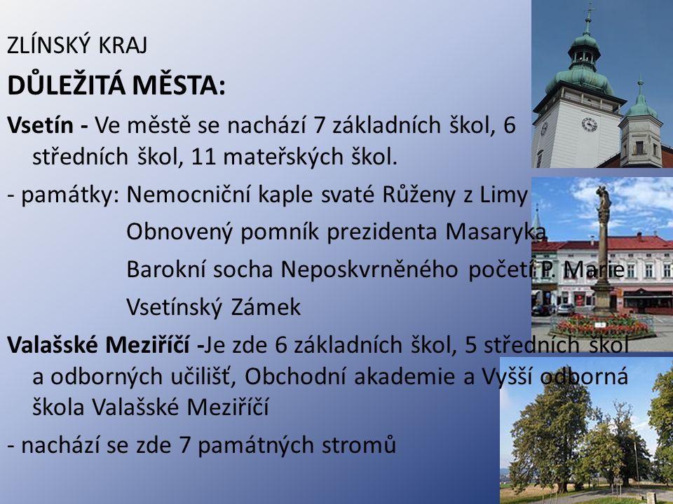 Vsetín - památky: Vsetínský Zámek - 7 ZŠ, 6 SŠ, 11MŠ Valašské Meziříčí - 6 ZŠ, 5 SŠ a odb.