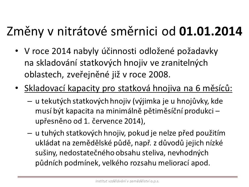 Změny v nitrátové směrnici od 01.01.2014 V roce 2014 nabyly účinnosti odložené požadavky na skladování statkových hnojiv ve zranitelných oblastech, zv