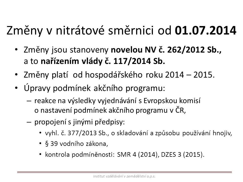 Změny v nitrátové směrnici od 01.07.2014 Změny jsou stanoveny novelou NV č. 262/2012 Sb., a to nařízením vlády č. 117/2014 Sb. Změny platí od hospodář
