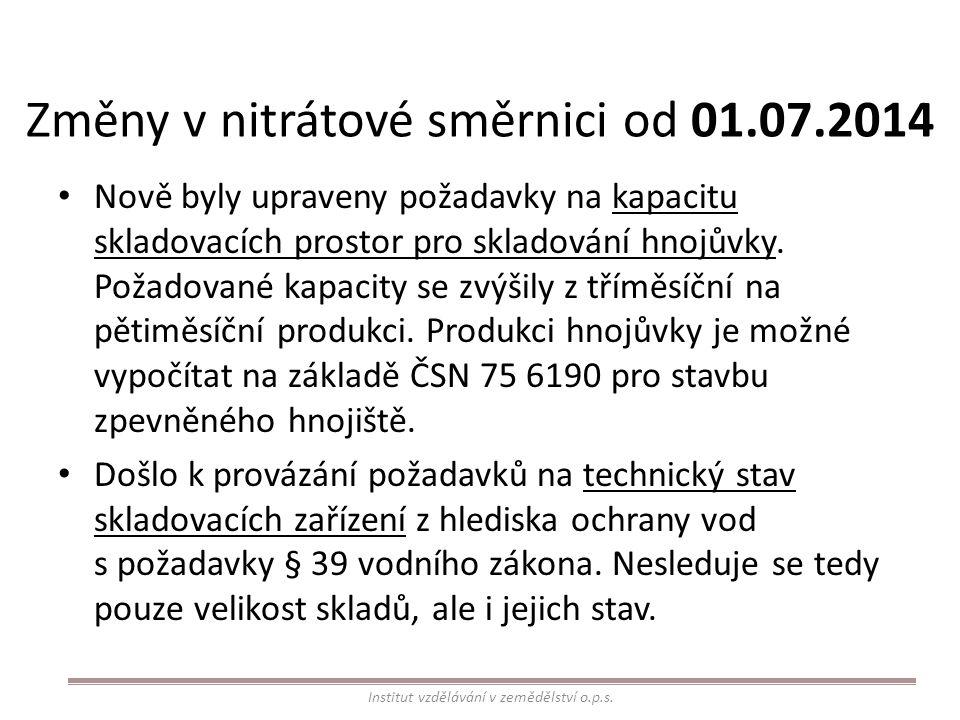 Změny v nitrátové směrnici od 01.07.2014 Nově byly upraveny požadavky na kapacitu skladovacích prostor pro skladování hnojůvky. Požadované kapacity se