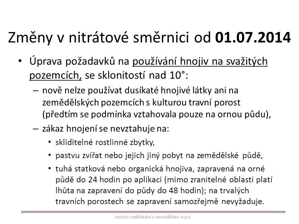 Změny v nitrátové směrnici od 01.07.2014 Úprava požadavků na používání hnojiv na svažitých pozemcích, se sklonitostí nad 10°: – nově nelze používat du