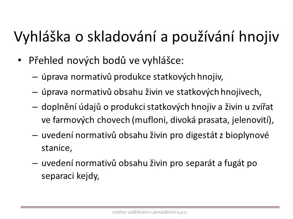 Vyhláška o skladování a používání hnojiv Přehled nových bodů ve vyhlášce: – úprava normativů produkce statkových hnojiv, – úprava normativů obsahu živ