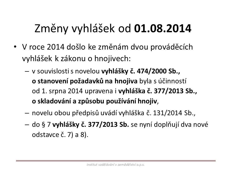 Změny vyhlášek od 01.08.2014 V roce 2014 došlo ke změnám dvou prováděcích vyhlášek k zákonu o hnojivech: – v souvislosti s novelou vyhlášky č. 474/200