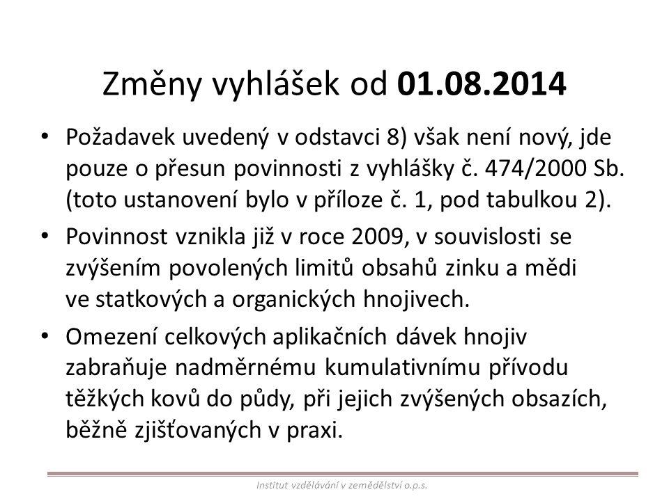 Změny vyhlášek od 01.08.2014 Požadavek uvedený v odstavci 8) však není nový, jde pouze o přesun povinnosti z vyhlášky č. 474/2000 Sb. (toto ustanovení