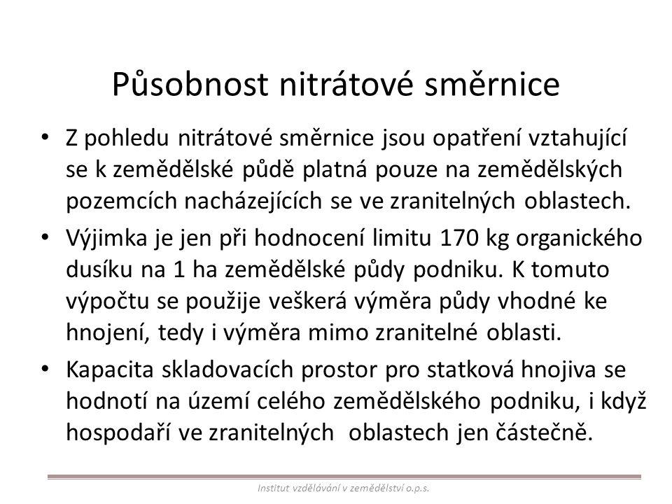 Působnost nitrátové směrnice Z pohledu nitrátové směrnice jsou opatření vztahující se k zemědělské půdě platná pouze na zemědělských pozemcích nacháze