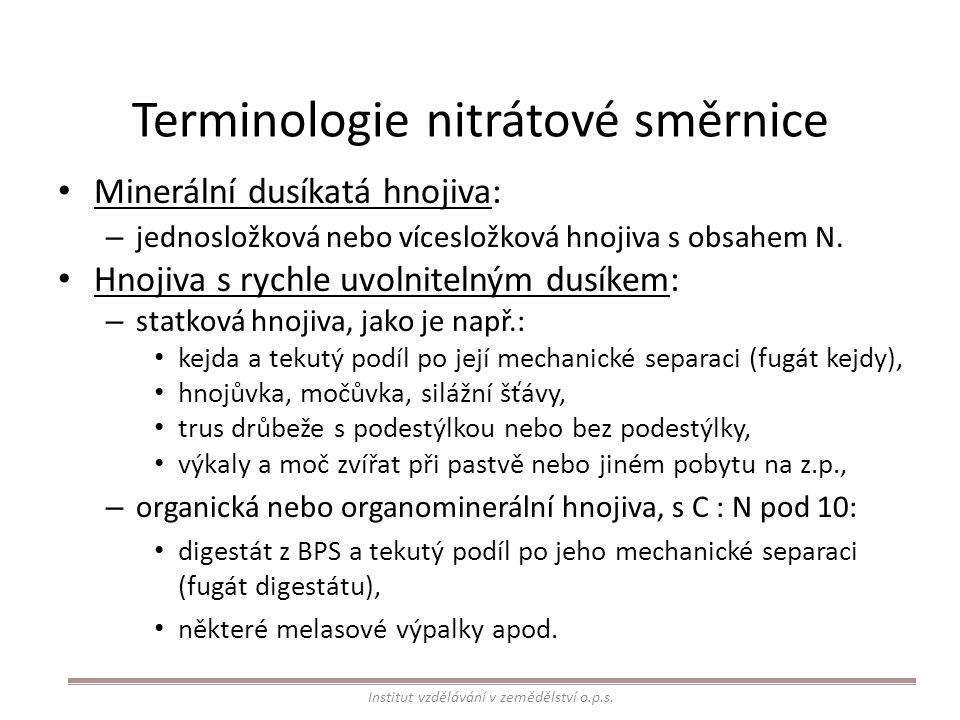Terminologie nitrátové směrnice Hnojiva s pomalu uvolnitelným dusíkem: – statková hnojiva, jako je např.: hnůj, tuhý podíl kejdy po její mechanické separaci (separát kejdy), – organická nebo organominerální hnojiva, v nichž je poměr C : N roven nebo je vyšší než 10, např.: kompost, tuhý podíl digestátu z BPS po jeho mechanické separaci (separát digestátu), některé melasové výpalky.