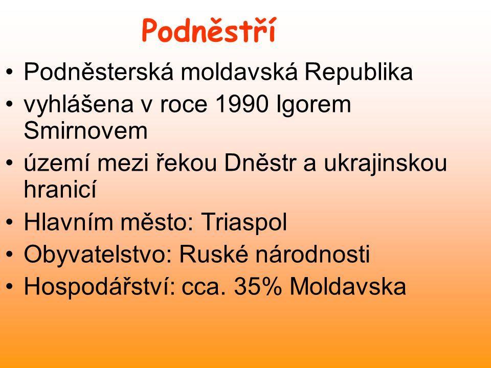 Obyvatelstvo největší etnická skupina Moldavané 64 % Ukrajinci 14 %, Rusové 13 % a Gagauzové (Turci) 3 % 98 % věřících - pravoslavní 2 % obyvatel vyznávají judaismus