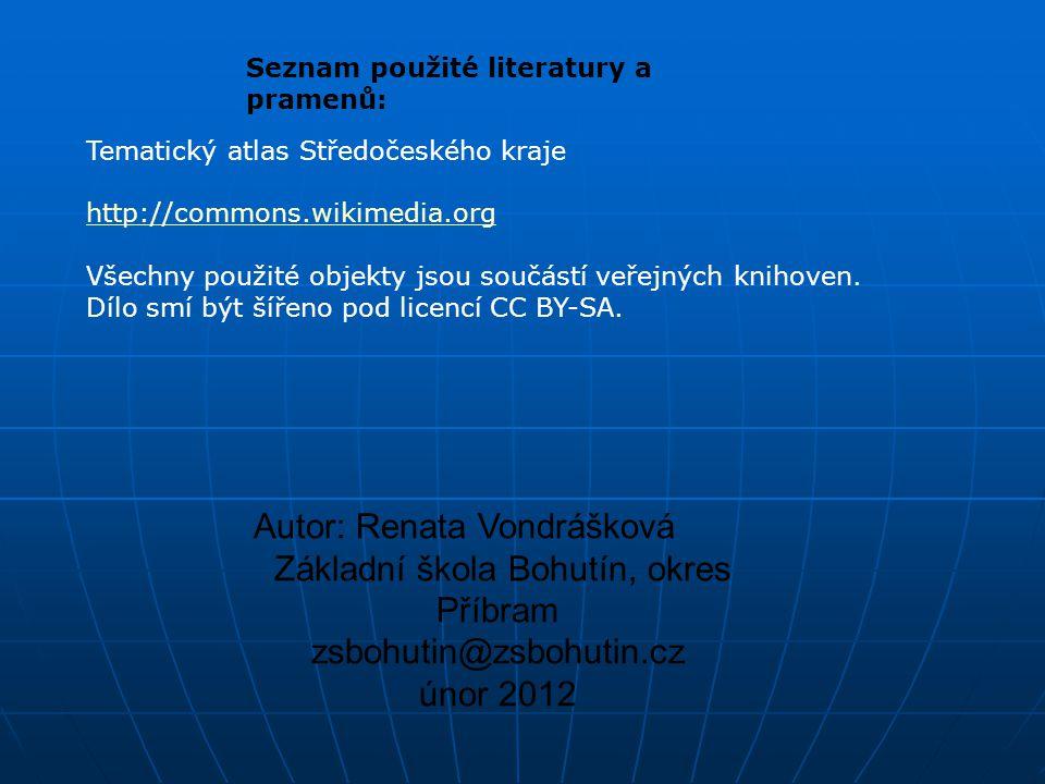 Seznam použité literatury a pramenů: Tematický atlas Středočeského kraje http://commons.wikimedia.org Všechny použité objekty jsou součástí veřejných