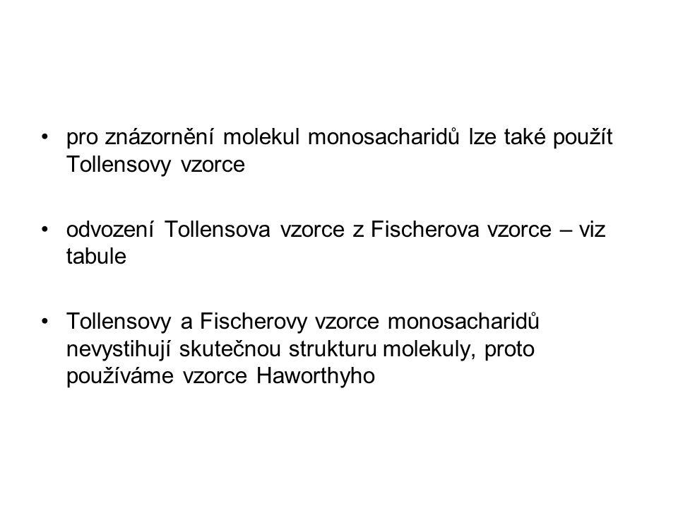 pro znázornění molekul monosacharidů lze také použít Tollensovy vzorce odvození Tollensova vzorce z Fischerova vzorce – viz tabule Tollensovy a Fischerovy vzorce monosacharidů nevystihují skutečnou strukturu molekuly, proto používáme vzorce Haworthyho