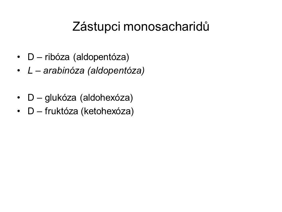 Zástupci monosacharidů D – ribóza (aldopentóza) L – arabinóza (aldopentóza) D – glukóza (aldohexóza) D – fruktóza (ketohexóza)