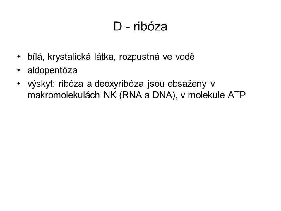 D - ribóza bílá, krystalická látka, rozpustná ve vodě aldopentóza výskyt: ribóza a deoxyribóza jsou obsaženy v makromolekulách NK (RNA a DNA), v molekule ATP